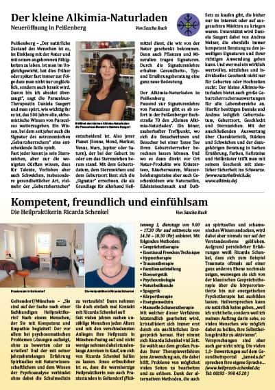 Artikel über Heilpraktikerin Ricarda Schenkel